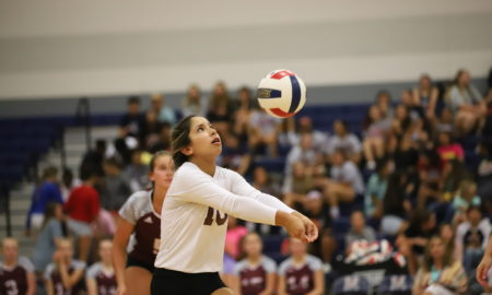 Freshman Mikaela Palmer bumps the ball in Tuesday's game vs Veterans Memorial.